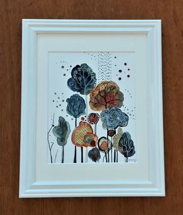"Autumn Foliage. $200. Watercolour. 12"" x 15"" framed (#1485W)"