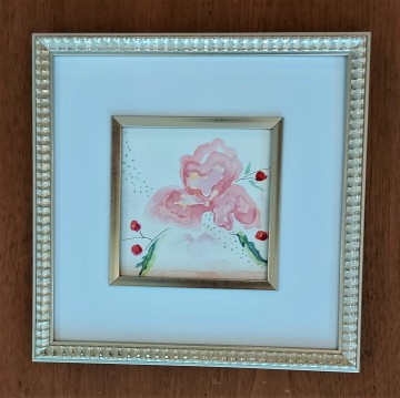 "Pretty in Pink. $95. Watercolour. 10"" x 10"". (#1486W)"