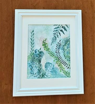 "Spring Foliage. $200. Watercolour. 12"" x 15"" framed. (#1484W)"