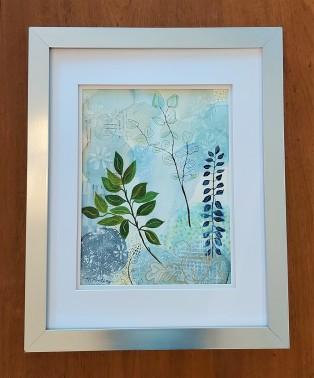 "Spring in the Garden. $250. Watercolour. 16"" x 20"" framed. (#1482W)"