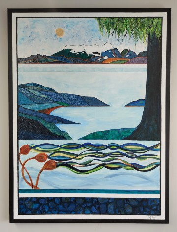 """Sea to Sky (rev). SOLD. Acrylic on canvas. 36"""" x 48"""" x 1.5"""" (#1473)"""