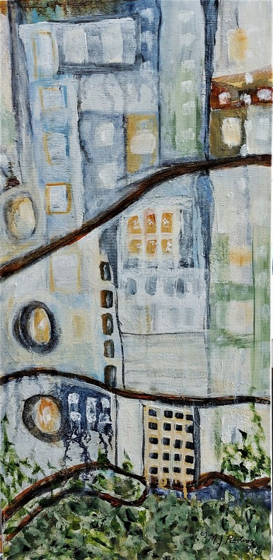 "9 to 5. $250. Acrylic on canvas. 12"" x 24"" x 1.5"" (#1437)"