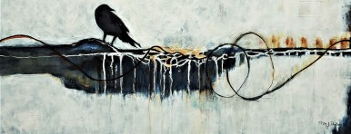 "Keeper of Secrets II. $475. Acrylic on canvas. 40"" x 16"" x 1.5"" (#1230)"