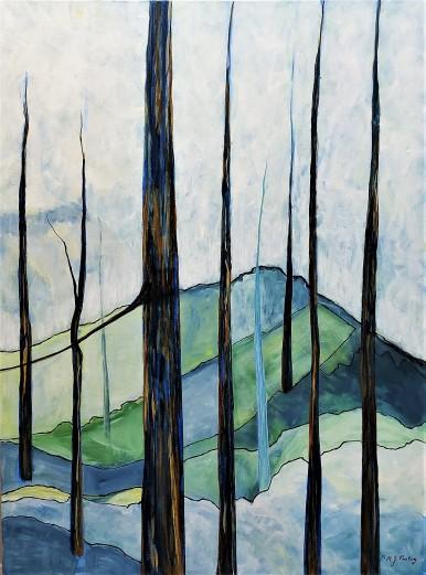 "Renewal. $975. Acrylic on canvas. 30"" x 40"" x 1.5"" (#1491)"