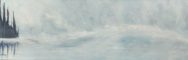 "Silver Sea, Silver Sky. $350. Acrylic on canvas (36"" x 12"" x 1.5""). #1490."